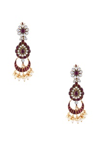 red-semi-precious-stones-gold-pated-earrings