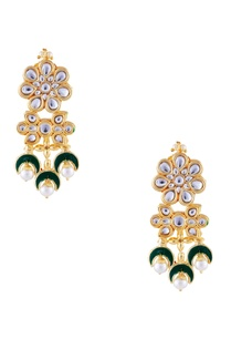 green-semi-precious-stones-gold-plated-earrings