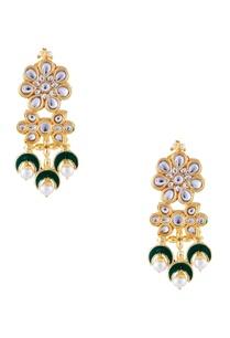 green-semi-precious-stones-gold-plated-earrings