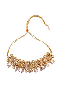 pink-semi-precious-stones-gold-plated-choker-necklace