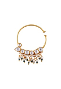 green-semi-precious-stones-gold-plated-nose-ring