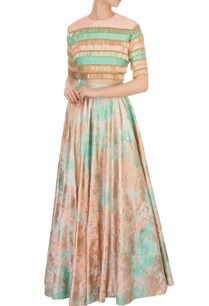 peach-green-stripe-blouse-with-tie-dye-lehenga