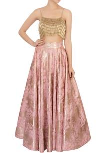 pink-foil-lehenga-gold-tassel-blouse