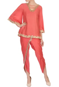 tomato-red-satin-top-dhoti-pants