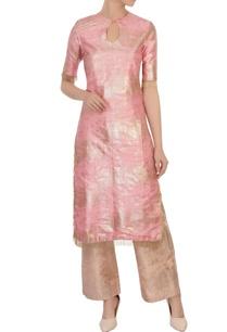 pink-raw-silk-foil-kurta-set