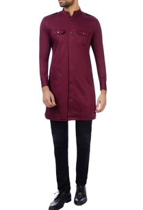 marsala-cotton-silk-solid-kurta