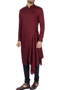 wine-modal-satin-solid-kurta
