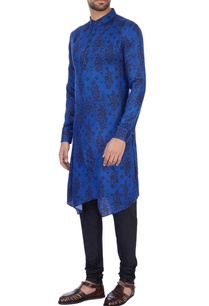 royal-blue-modal-satin-printed-kurta-set