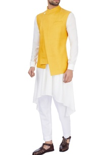 mustard-yellow-silk-solid-nehru-jacket