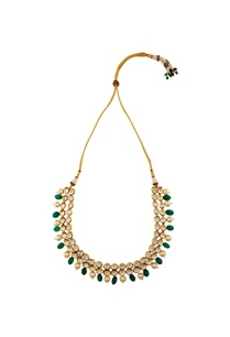 green-bead-moti-accent-necklace