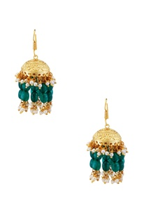 green-bead-kundan-earrings