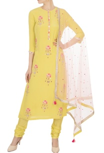 yellow-sequin-embellished-kurta-set
