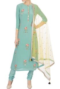 teal-green-floral-sequin-embellished-kurta-set