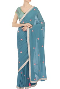 blue-georgette-embellished-sari-with-blouse