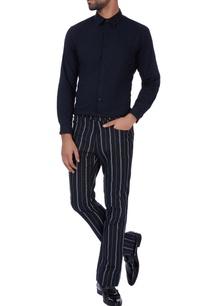 black-stripe-casual-pants