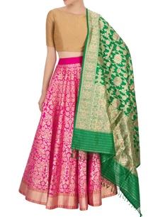 hot-pink-banarasi-silk-lehenga-set