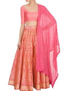 pink-banarasi-silk-lehenga-set