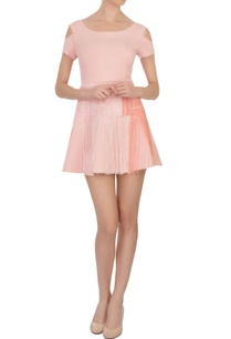 peach-tasseled-suede-short-dress