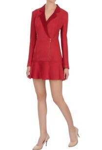 red-lapel-suede-georgette-dress