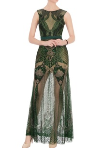 green-sequin-bead-embellished-gown