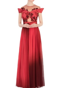 red-maroon-net-embellished-gown