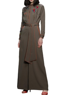 khaki-brown-hand-embroidered-jumpsuit