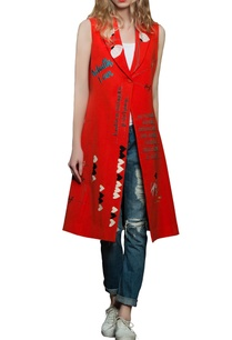 red-sleeveless-long-jacket