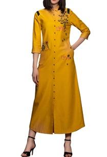 yellow-cotton-shirt-dress