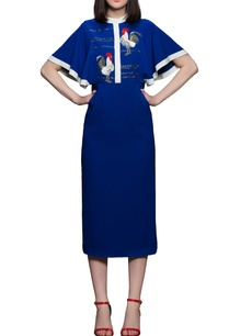 blue-midi-dress-with-frilly-sleeves
