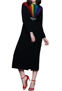 black-rainbow-insect-midi-dress