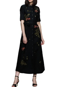 black-embroidered-long-shirt-dress