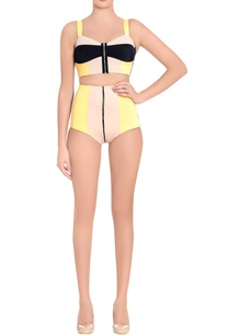 orange-black-color-block-two-piece-swimsuit