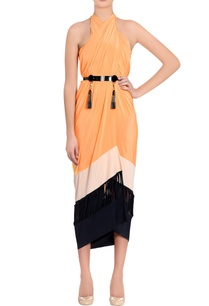 black-orange-color-block-sarong