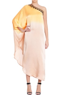 saffron-cream-one-shoulder-pure-silk-kaftan