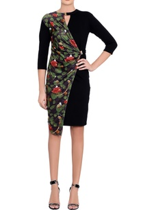 black-printed-wrap-dress