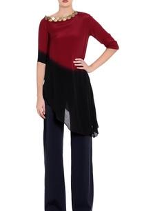 maroon-black-ombre-asymmetric-blouse