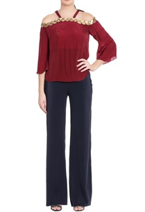 maroon-cold-shoulder-crepe-silk-blouse