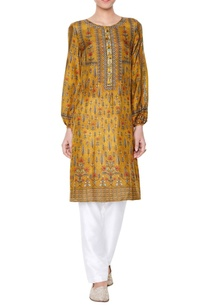 mustard-yellow-printed-kurta