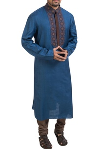 blue-embroidered-kurta-churidar-pants