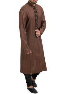 brown-embroidered-kurta-black-churidar