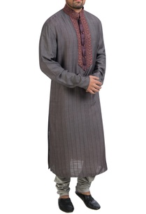 grey-hand-embroidered-kurta-set