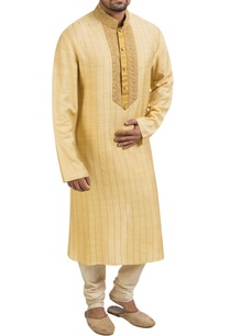 yellow-hand-embroidered-kurta-set