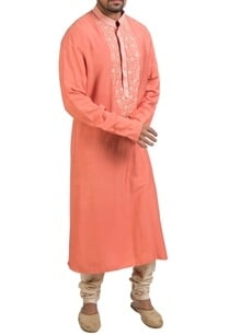 coral-pink-hand-embroidered-kurta-set