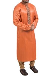 orange-hand-embroidered-kurta-churidar