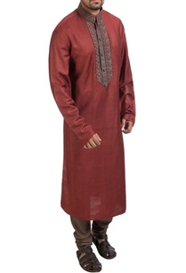 maroon-hand-embroidered-kurta-churidar