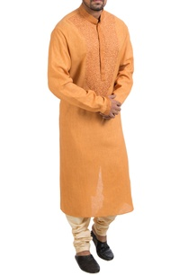 orange-hand-embroidered-kurta-churidar