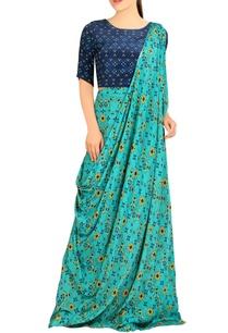 blue-printed-sari-gown