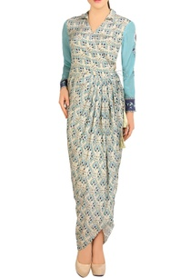 blue-white-printed-dhoti-dress