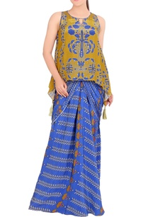 blue-mustard-printed-draped-gown
