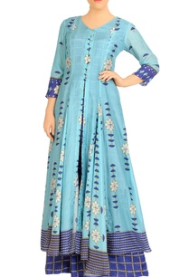 blue-double-layer-dress